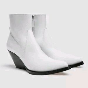 ZARA White Leather Cowboy Ankle Boots 38